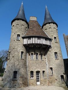The Saint-Hilaire castle, Normandy, France. Chateau Medieval, Medieval Castle, Castle Ruins, Castle House, Beautiful Castles, Beautiful Buildings, French Castles, Interesting Buildings, Grand Homes