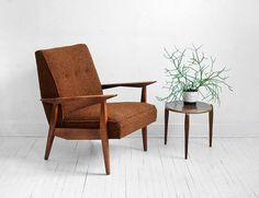 Mid Century Lounge Chair  Modern Side Wood Retro Danish by Moved