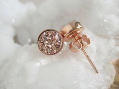 NEW Rose Gold Druzy Studs Tiny Titanium Drusy by julianneblumlo