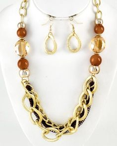 Two-tone Metal / Brown Acrylic & Glass / Lead Compliant / Multi Strand / Necklace & Fish Hook Earring Set