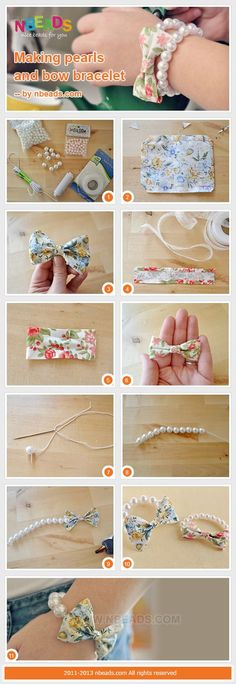 making pearls and bow bracelet