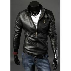 $43.71 Stylish Stand Collar Slimming Solid Color Multi-Zipper Design Long Sleeve PU Leather Jacket For Men