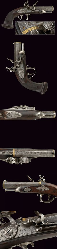 A very rare officers flintlock pistol by the Manufacture of Versailles.    provenance: France dating: circa 1800.