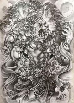 Lion Head Tattoos, God Tattoos, Badass Tattoos, Tattoos For Guys, Tattoo Design Drawings, Tattoo Sketches, Tattoo Designs, Khmer Tattoo, Thai Tattoo
