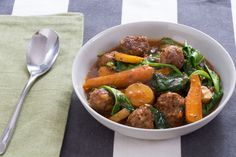 Recipe: Navarin-Style Lamb Meatball Stew with Pea Tips & Carrots - Blue Apron Meatball Stew, Lamb Meatballs, Whole 30, Lamb Recipes, Cooker Recipes, Soup Recipes, The Fresh, Soups And Stews, Pot Roast