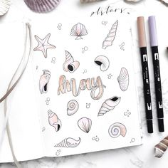 MAY COVERPAGE✨ Ahhh! This months theme is sea shells!🐚 Very summery in my opinion. Bullet Journal Inspo, Bullet Journal August, Bullet Journal Cover Page, Bullet Journal Junkies, Bullet Journal Ideas Pages, Bullet Journal Spread, Bullet Journal Layout, August Themes, Bullet Journel