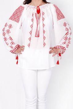 Ie romaneasca model Rombulet Bell Sleeves, Bell Sleeve Top, Traditional, Sewing, Crochet, Tops, Women, Fashion, Moda