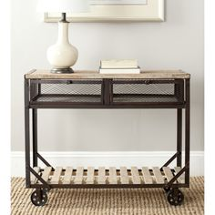 Safavieh Shroder Natural Rolling Console Table | Overstock.com. Metal, fir, wood, rustic-industrial.
