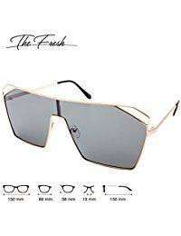 Color Mirror Single Lens Metal Wraparound Shield Sunglasses with Gift Box  Women s Sunglasses 2e4a1757e1