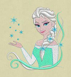 Elsa frozen embroidery design pes hus jef Coloer by ViolaFashion