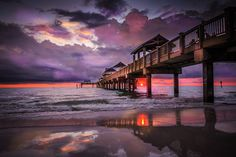 Sunset Pier Clearwater, Florida by Rising Lotus Photography by Marilyn Shamblin Clearwater Beach Florida, Destin Florida, Destin Beach, Florida Vacation, Florida Beaches, Vacation Trips, Local Beaches, Florida Events, Florida 2017