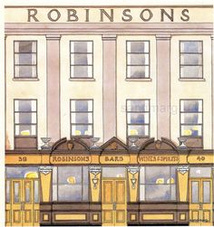 Vintage Architectural Print of Robinsons Bar Belfast City Great Victoria Street Northern  Ireland