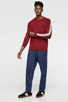 Image 1 of SWEATER WITH SIDE STRIPES from Zara Gifts For Dad, Dads, Stripes, Sweatpants, Long Sleeve, Sleeves, Sweaters, Mens Tops, T Shirt