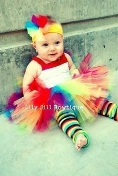 Every little girl should wear a rainbow tutu for her first birthday!