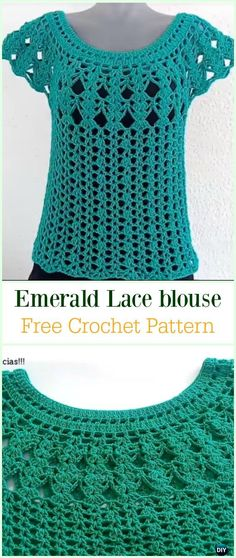 Crochet Emerald Lace Blouse Free Pattern Video -Crochet Summer Top Free Patterns