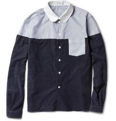 CarvenPanelled Corduroy and Oxford Cotton Shirt|MR PORTER