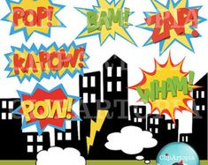 Superheroes Pop Art Text and Bubbles Clipart / by ClipArtopia