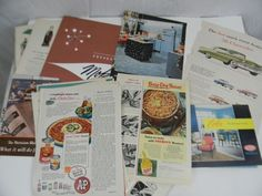 Vintage Lot of Magazine Ephemera for Advertisements Cars Household Pics Recipes