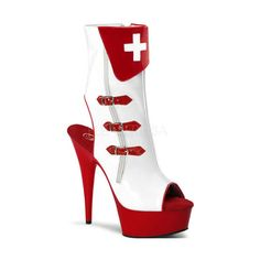 Nurse-101 Demonia Pleaser Halloween Gothic Steampunk Horrorpunk Fetish... ($52) ❤ liked on Polyvore featuring shoes, boots, ankle booties, heels, demonia, heel boots, demonia boots, gothic boots and steampunk boots