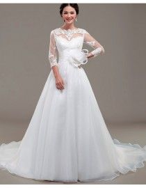 Jewel neck lace appliques tulle sheer long sleeves ivory white organza court train wedding gowns ls-062