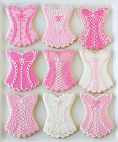 Pink Linens and Lingerie Cookies ♥ Bachelorette Party Cookies like these but with yellow and grey