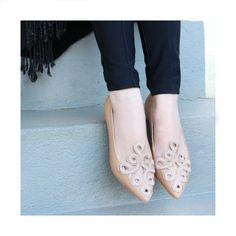 Sapatilha | nude | bordado | arabesco | Guilhermina Shoes