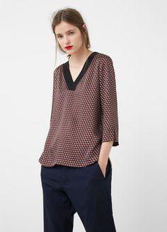 Contrast neck blouse