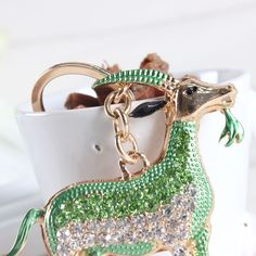 St. Patrick's Day Goat Sheep Key Chain Purse Green Crystal Alloy Rhinestone
