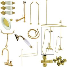 Kingston Brass Vintage High Rise Gooseneck Clawfoot Tub and Shower Package with Porcelain Lever Handles, Polished Brass Clawfoot Tub Shower, Vintage Tub, Kingston Brass, Shower Systems, Shower Enclosure, Bathroom Faucets, Small Bathroom, Polished Brass, Solid Brass