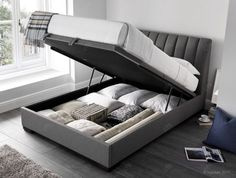 Lanchester Elephant Grey Fabric Ottoman Storage BedYou can find Storage beds and more on our website. Ottoman Storage Bed, Ottoman Bed, Fabric Ottoman, Bed Storage, Bedroom Storage, Fabric Beds, Best Storage Beds, Storage Area, Fabric Storage