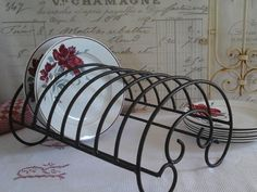 French Brocante Iron Dish Rack with ...Dish by ImagedeVintage