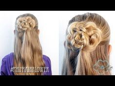 How To: Half Up Hair Flower Bun | Pretty Hair is Fun - YouTubeBraid Hairstyles, Braids, braids tutorial, braids for short hair, braids for short hair tutorial, braids for long hair, braids for long hair tutorials...