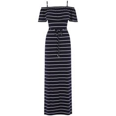 STRIPE FRILL MAXI DRESS ($49) ❤ liked on Polyvore featuring dresses, off the shoulder maxi dress, blue dress, blue beach dress, blue maxi dress and off the shoulder ruffle dress