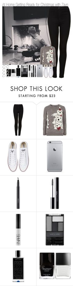 """""""At Home Getting Ready for Christmas with Zayn"""" by elise-22 ❤ liked on Polyvore featuring Topshop, Dorothy Perkins, Converse, MAC Cosmetics, shu uemura, NARS Cosmetics, Wet n Wild, Agonist, Butter London and ASOS"""