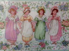 Victorian Girls Friends Flowers 18x14 Cross Stitch Kit Holly McCray Sunset Rare