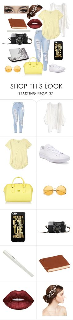 """Random outfit #104"" by rye-claw ❤ liked on Polyvore featuring Chicwish, Hollister Co., Converse, Patrizia Pepe, Rabitti 1969, Lime Crime and Jennifer Behr"