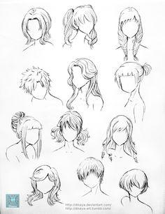 Hair Reference 1 by Disaya on DeviantArt Manga Tutorial, Drawing Hair Tutorial, Drawing Tutorials, Art Tutorials, Drawing Tips, Drawing Ideas, Anime Drawings Sketches, Cartoon Drawings, Realistic Drawings