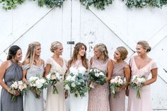 Mix and match bridesmaid dresses in neutral-colored tones - pastel gray, blue, blush bridesmaid dresses {Leah Marie Photography}