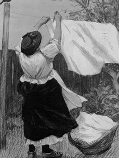 Illustration of Woman Hanging Up Clothes to Dry on Clothes Line Photographic ...