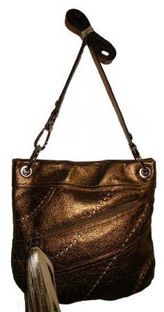Women's/Girl's B Makowsky Martina X-Body Handbag (Dark Gold) $169.0