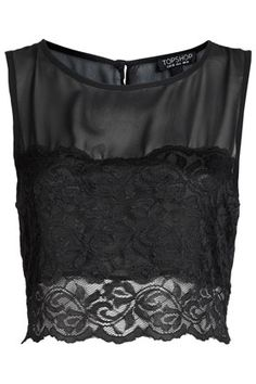 Lace Panel Chiffon Crop Top / planning a NYE outfit...