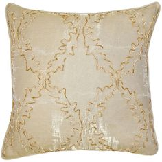 Amber Ornate Throw Pillow ($281) ❤ liked on Polyvore featuring home, home decor, throw pillows, plush throw pillows, metallic throw pillows, patterned throw pillows and embroidered throw pillows