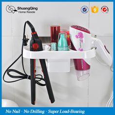 Бесплатная доставка пластиковый держатель стеллаж для хранения кухня стойку стене ванной стеллаж для хранения Электрический фанеры волосы расческой фен держате�