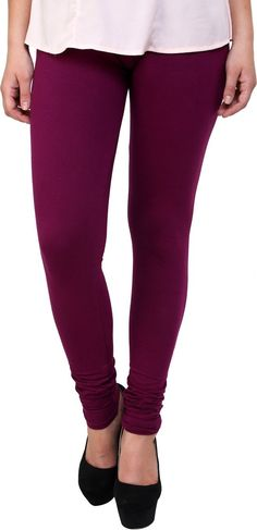 Lotus Wine Colored Cotton Lycra Ankle Length Legging