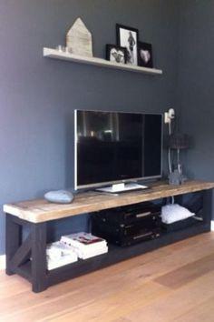 Tv meubel Tv Furniture, Plywood Furniture, Pallet Furniture, Home Living Room, Living Room Designs, Living Room Decor, Rustic Tv Unit, Consoles, Interior Design