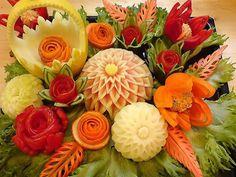 Beautiful fruit & veggie carvings