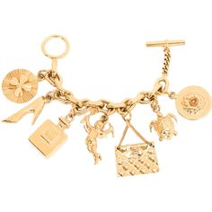 Pre-Owned Chanel Vintage Interwoven Chain Link Charm Bracelet ($1,950) ❤ liked on Polyvore featuring jewelry, bracelets, gold, turtle charm, gold jewelry, gold jewellery, vintage jewelry and gold four leaf clover charm