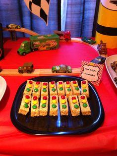 Cars Lightning McQueen Birthday Party | Traffic Light Rice Crispies