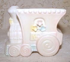 Vintage Rubens Original Baby Nursery Train Planter Ceramic Pastel Pink Blue  #RubensOriginal
