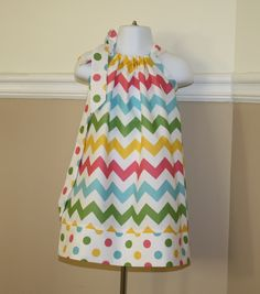 spring chevron Pillowcase dress riley blake pink, blue, green, yellow polka dot toddler easter dress 3, 6, 9, 12, 18 mo 2t, 3t, 4T. $19.99, via Etsy.